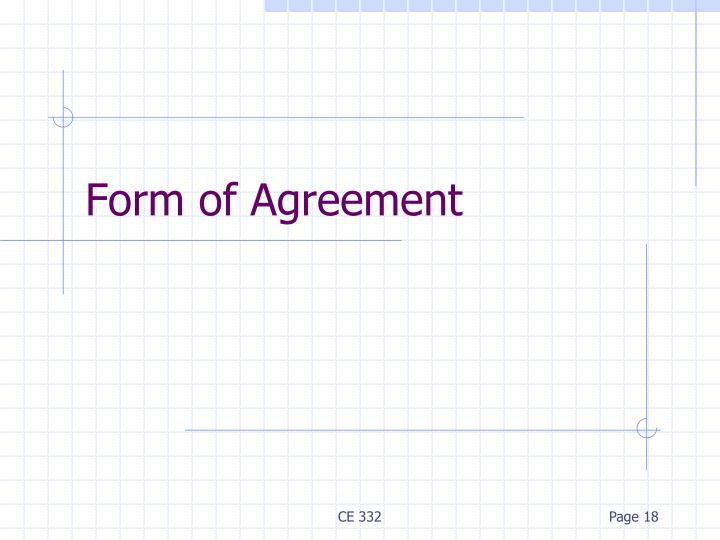 Form of Agreement