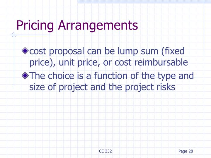 Pricing Arrangements