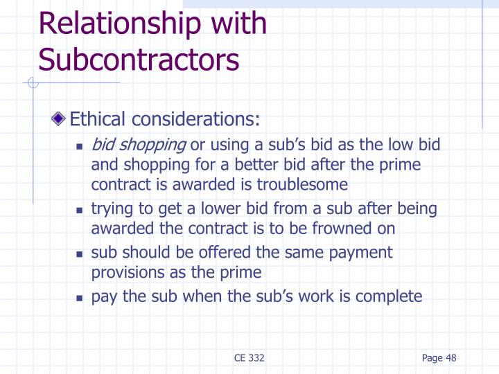 Relationship with Subcontractors