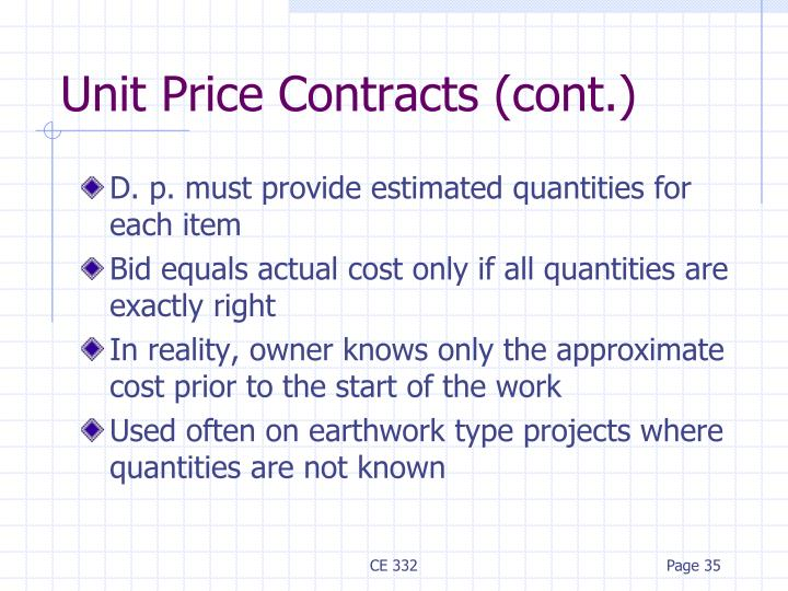 Unit Price Contracts (cont.)