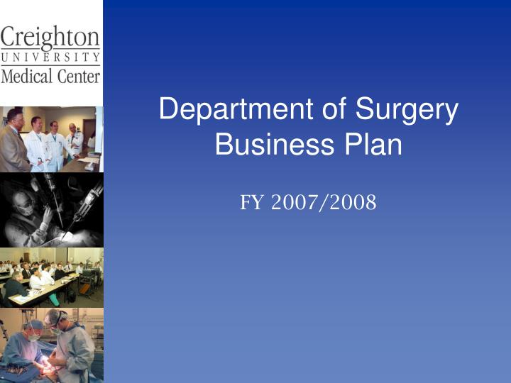 department of surgery business plan n.