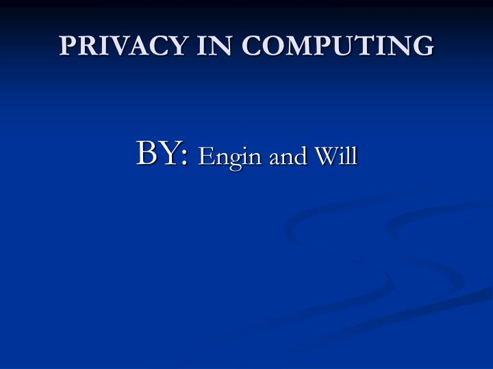 privacy in computing n.