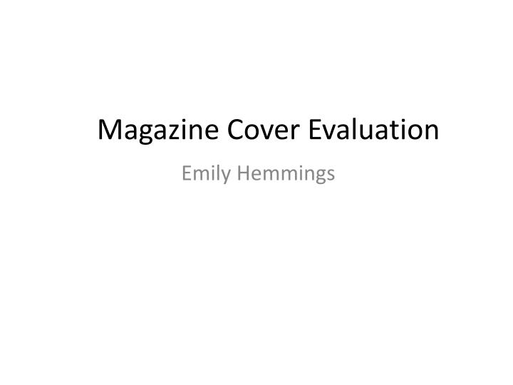 magazine cover evaluation n.