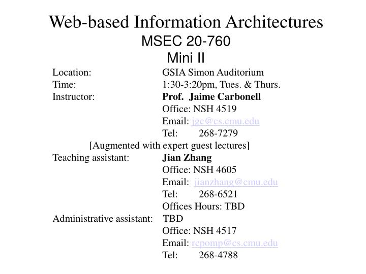 web based information architectures msec 20 760 mini ii n.