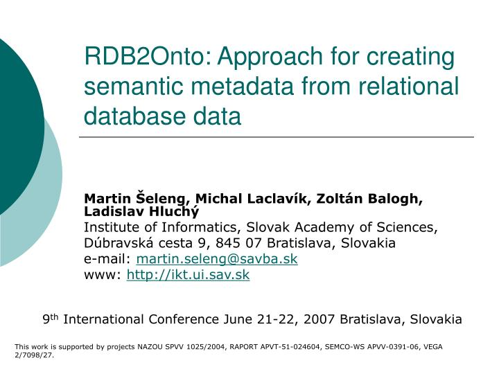 rdb2onto approach for creating semantic metadata from relational database data n.