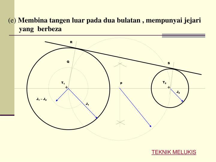 E membina tangen luar pada dua bulatan mempunyai jejari yang berbeza