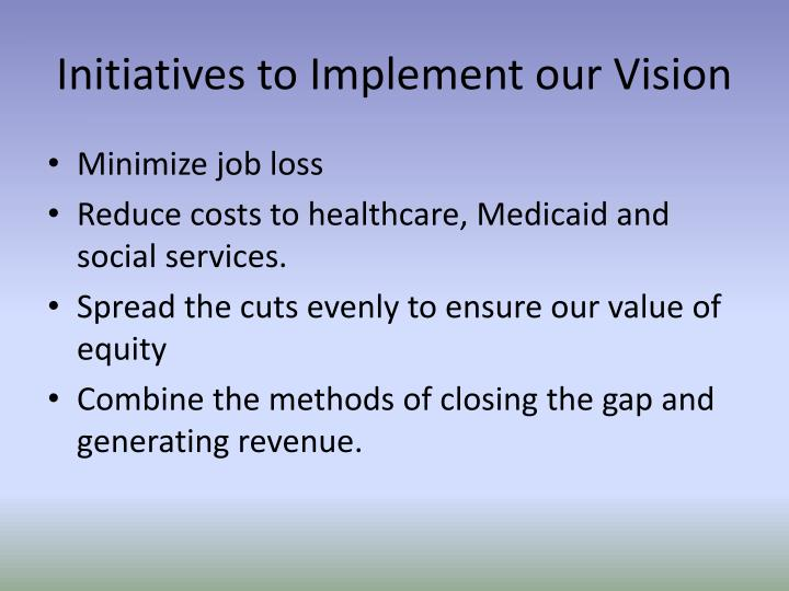 Initiatives to implement our vision