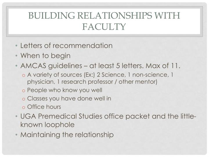 building relationships with faculty letters of recommendation when to begin amcas guidelines