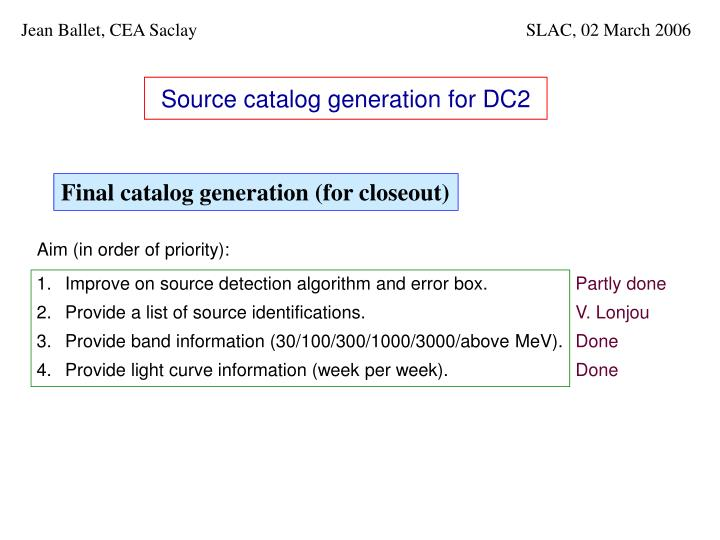 source catalog generation for dc2