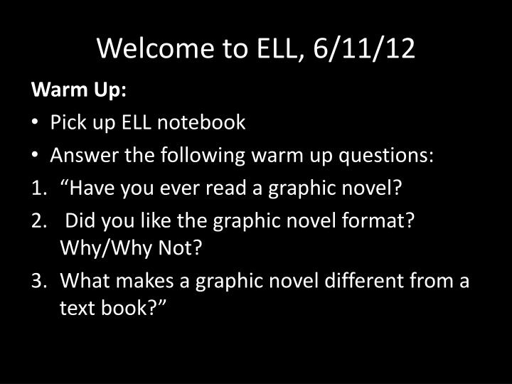 welcome to ell 6 11 12 n.