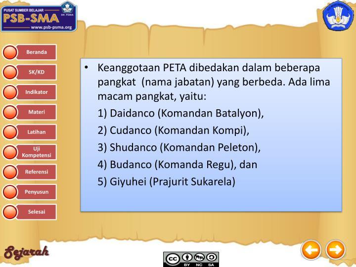 Keanggotaan PETA dibedakan dalam beberapa pangkat  (nama jabatan) yang berbeda. Ada lima macam pangkat, yaitu: