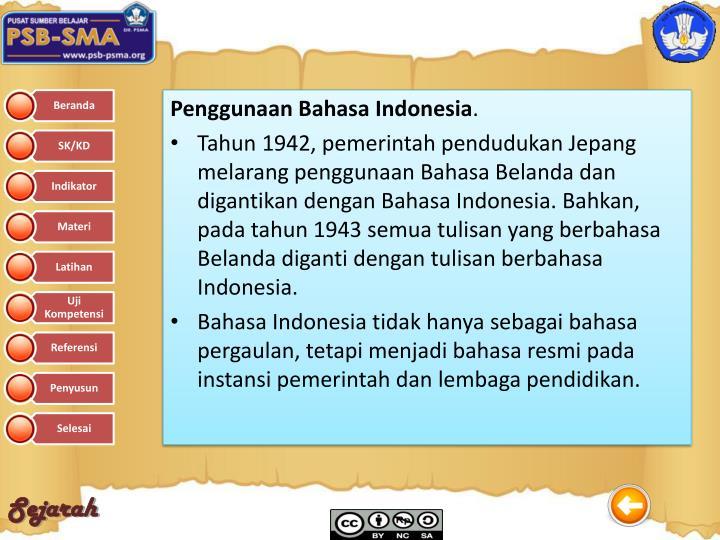 Penggunaan Bahasa Indonesia