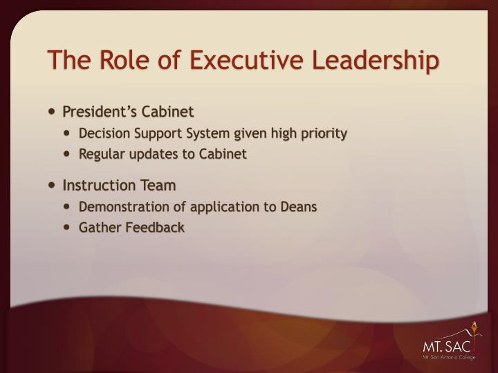 The role of executive leadership