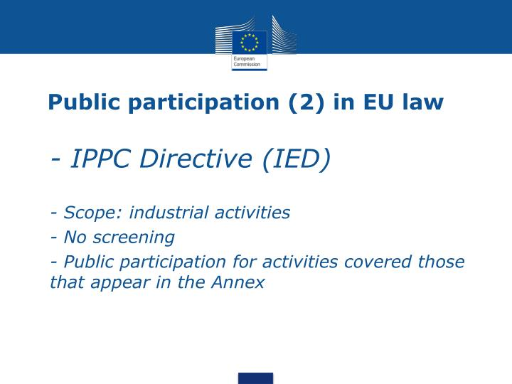 Public participation (2) in EU law