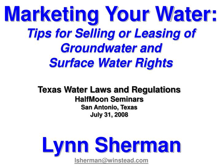 Marketing Your Water:
