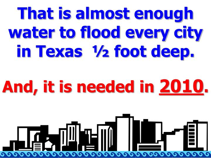 That is almost enough water to flood every city in Texas  ½ foot deep.