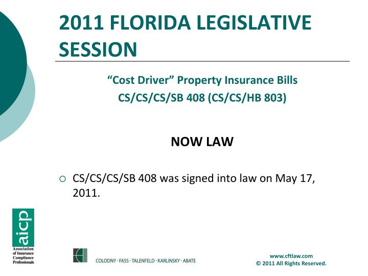 2011 FLORIDA LEGISLATIVE SESSION