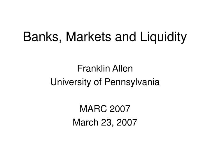 banks markets and liquidity n.