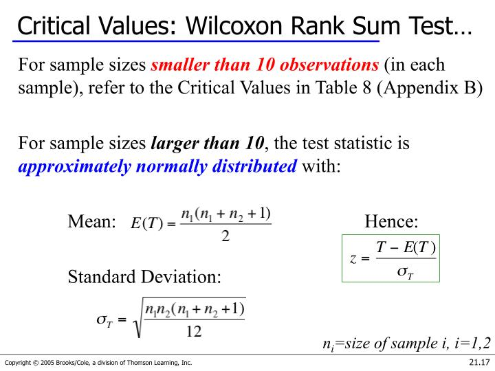 Critical Values: Wilcoxon Rank Sum Test…