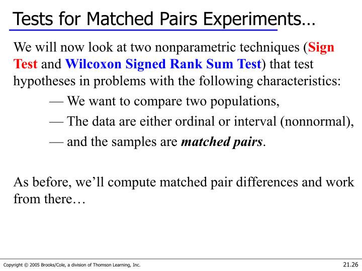 Tests for Matched Pairs Experiments…