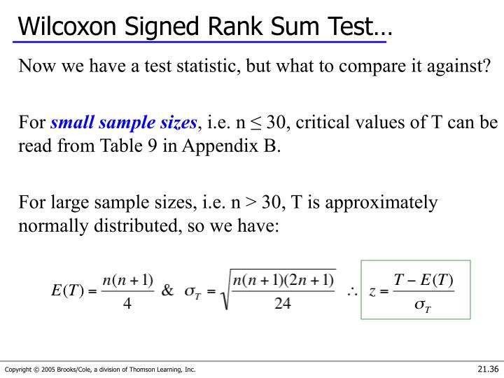 Wilcoxon Signed Rank Sum Test…