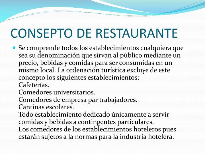 CONSEPTO DE RESTAURANTE