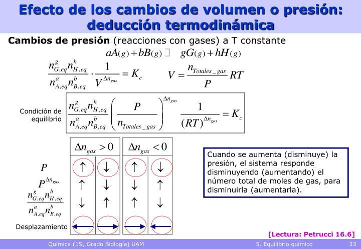 Efecto de los cambios de volumen o presión: