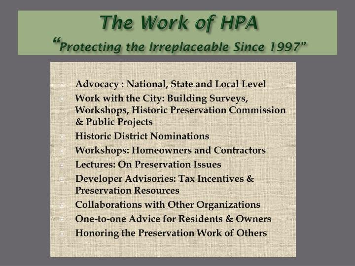the work of hpa protecting the irreplaceable since 1997 n.