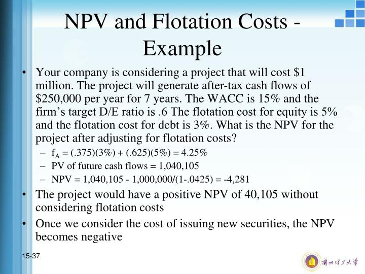 NPV and Flotation Costs - Example