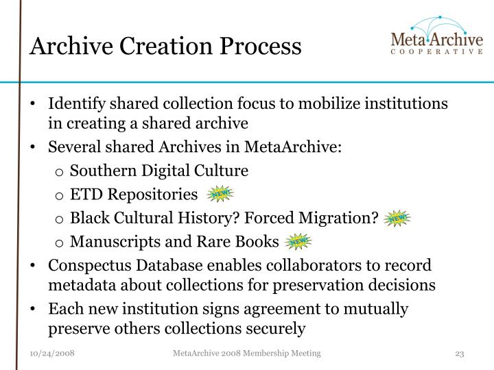 Archive Creation Process