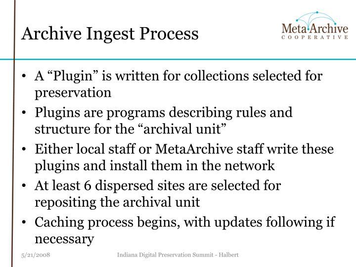 Archive Ingest Process