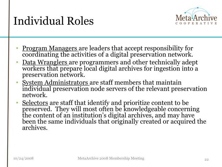 Individual Roles