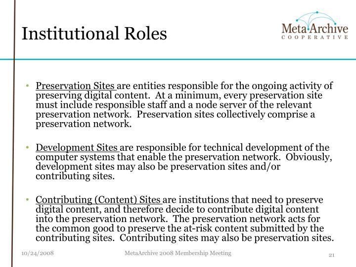 Institutional Roles
