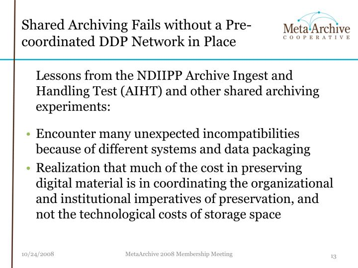 Shared Archiving Fails without a Pre-coordinated DDP Network in Place