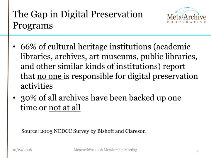 The Gap in Digital Preservation Programs