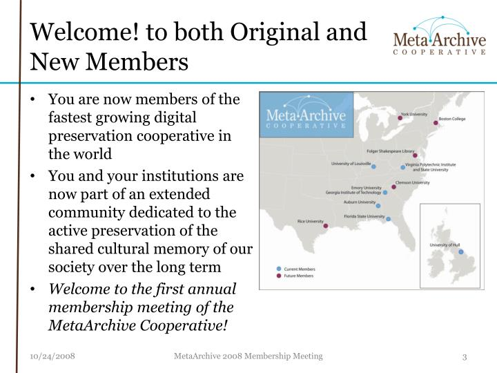 Welcome to both original and new members