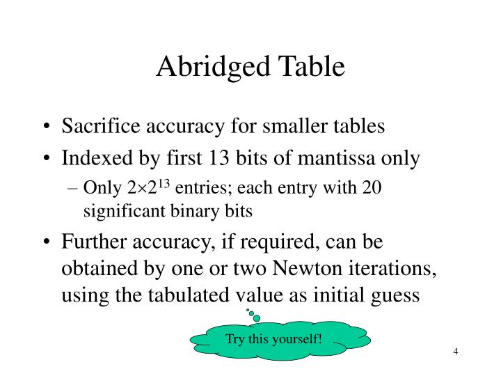 Abridged Table