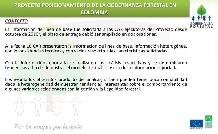 PROYECTO POSICIONAMIENTO DE LA GOBERNANZA FORESTAL EN COLOMBIA