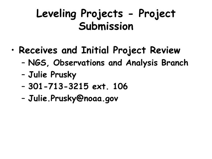 Leveling Projects - Project Submission