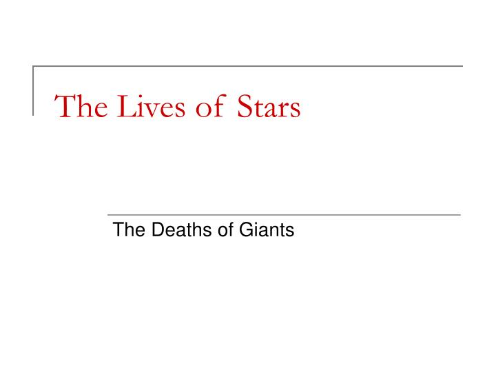 the lives of stars n.