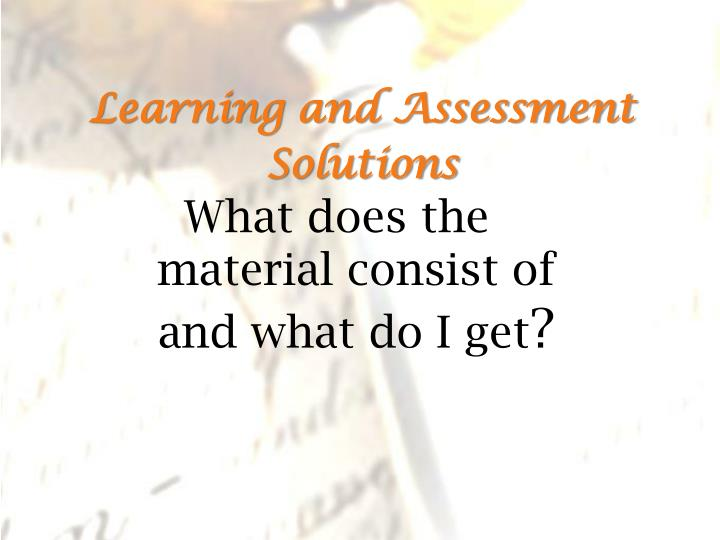 learning and assessment solutions n.