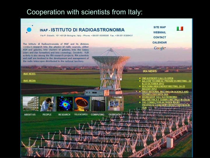Cooperation with scientists from Italy: