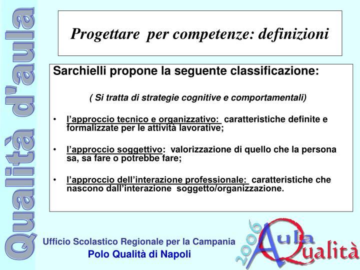 Sarchielli propone la seguente classificazione: