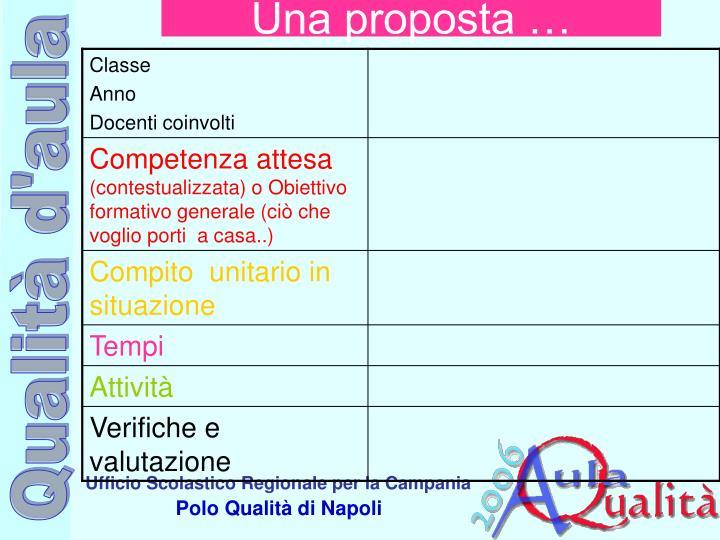 Una proposta …