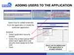 adding users to the application