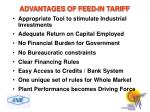 advantages of feed in tariff