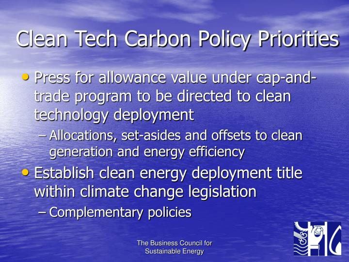 Clean Tech Carbon Policy Priorities