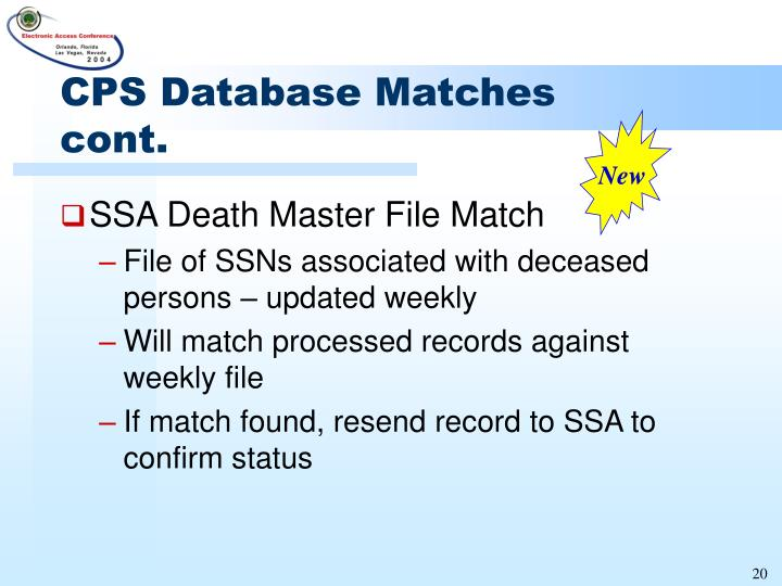 CPS Database Matches cont.