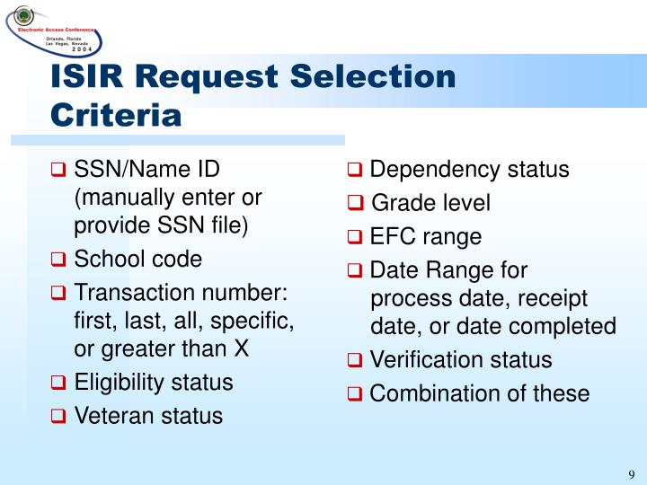 ISIR Request Selection Criteria