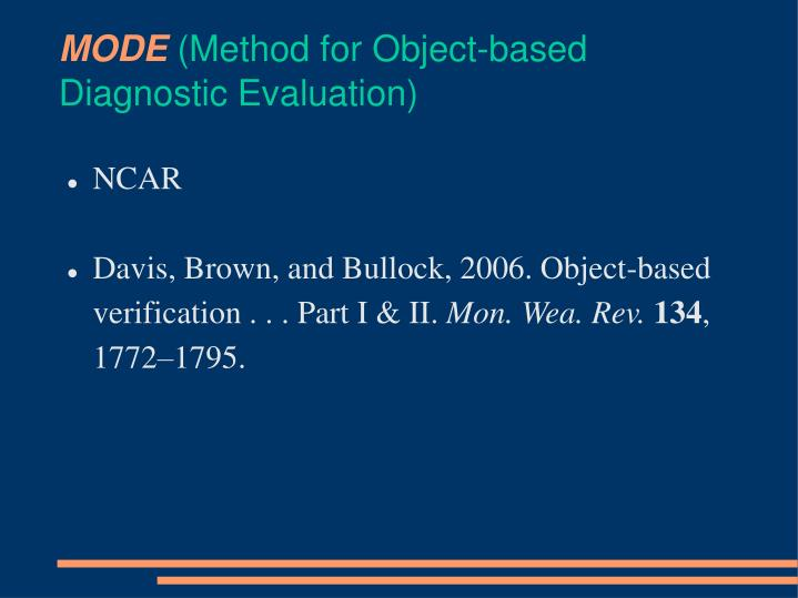 mode method for object based diagnostic evaluation n.